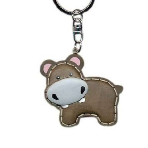 Hippo Key Chain Handcrafted in Wood - Patchwork