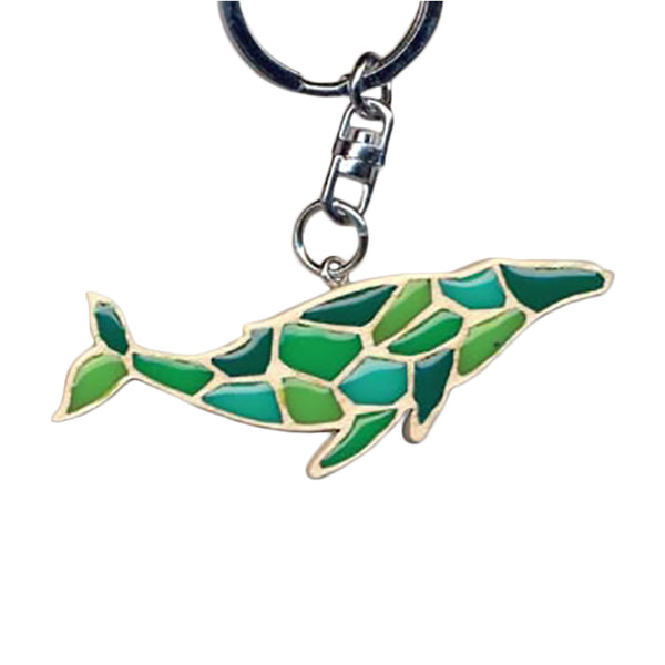 Humpback Whale Key Chain Handcrafted in Wood with Color Resin Inserts