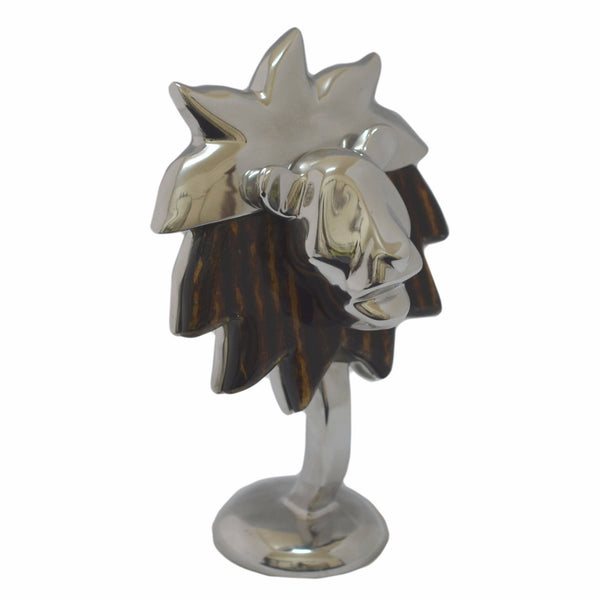 Lion Head Figurine Handcrafted in Recycled Aluminum with Natural Inserts