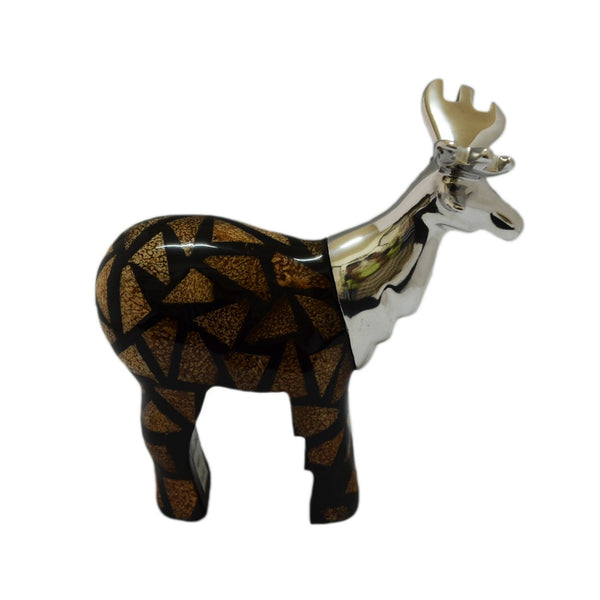Moose Figurine Handcrafted in Recycled Aluminum and Natural Inserts