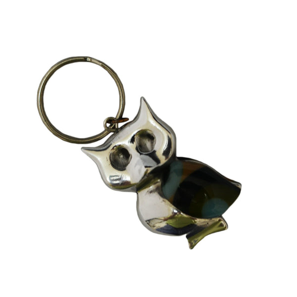 Owl Key Chain Handcrafted in Recycled Aluminum and Resin