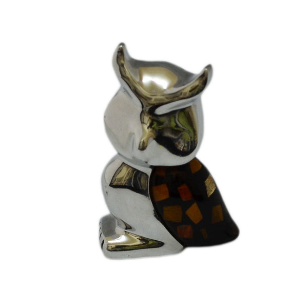 Owl Mini Figurine Handcrafted in Recycled Aluminum and Natural Inserts