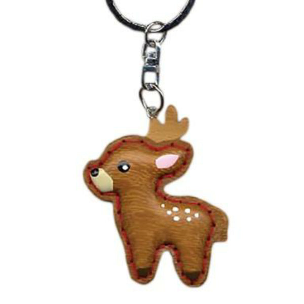 Reindeer Key Chain Handcrafted in Wood - Patchwork