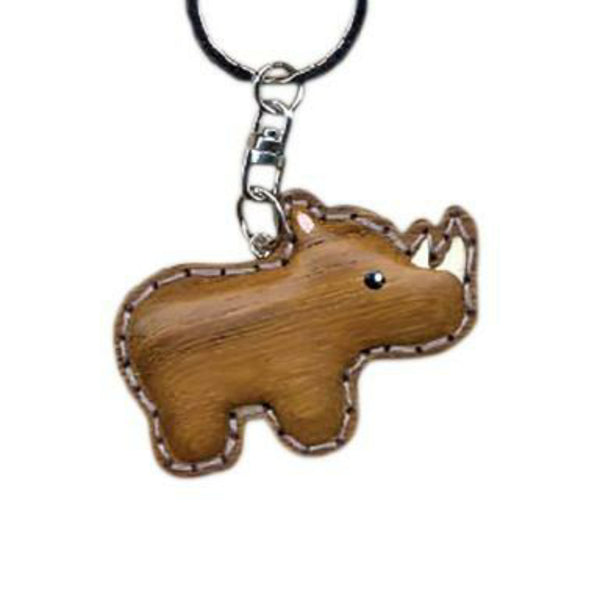 Rhino Key Chain Handcrafted in Wood - Patchwork