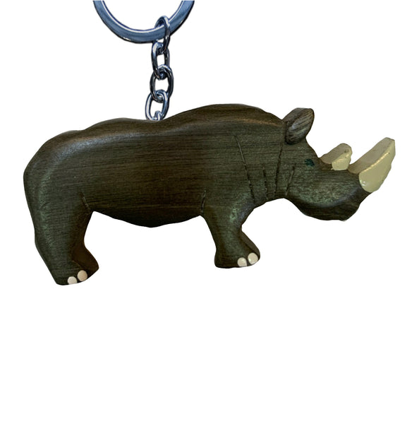 Rhino Key Chain Handcrafted in Wood - Realistic