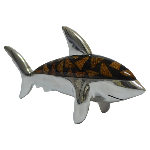 Shark Figurine Handcrafted in Recycled Aluminum with Natural Inserts.