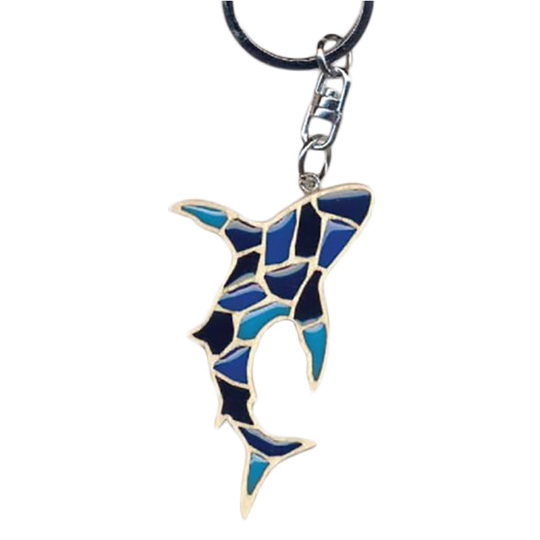 Shark Key Chain Handcrafted in Wood with Color Resin Inserts