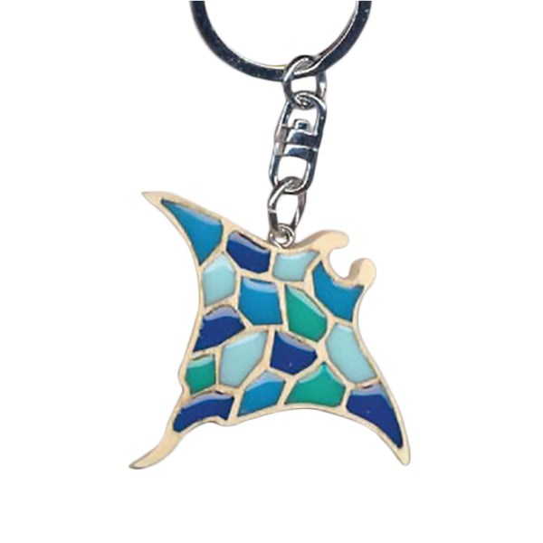 Sting Ray Key Chain Handcrafted in Wood with Color Resin Inserts