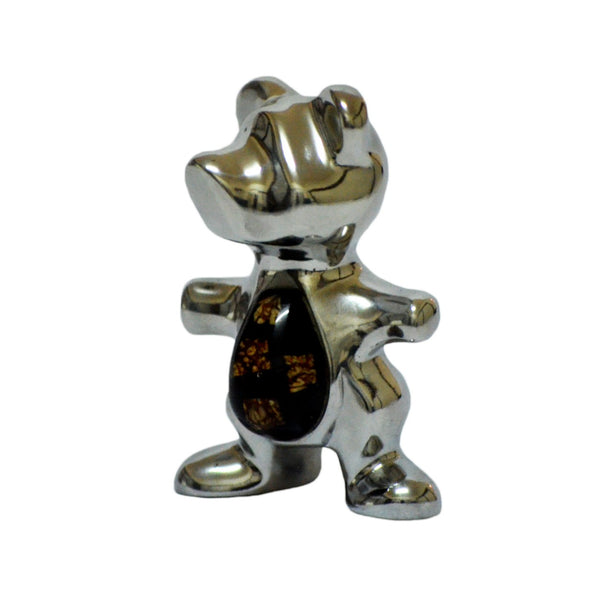 T Bear Mini Figurine Handcrafted in Recycled Aluminum and Natural Inserts