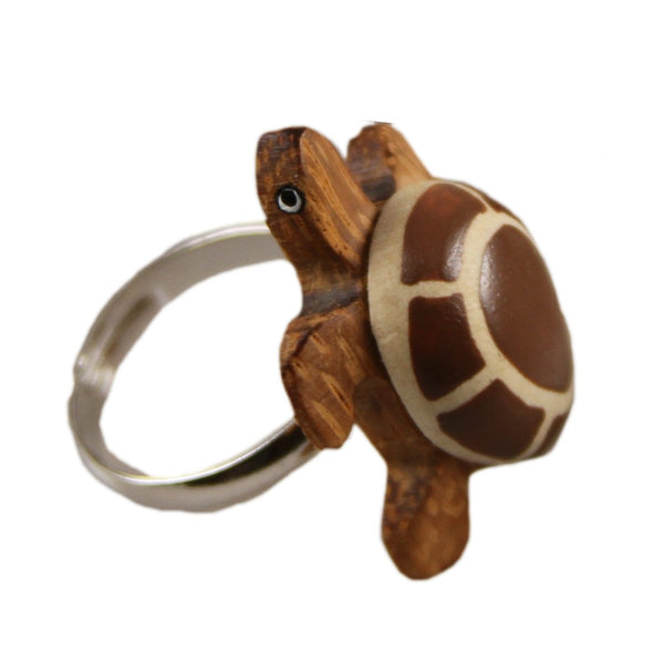 Sea Turtle Adjustable Ring Assorted Handcrafted in Wood