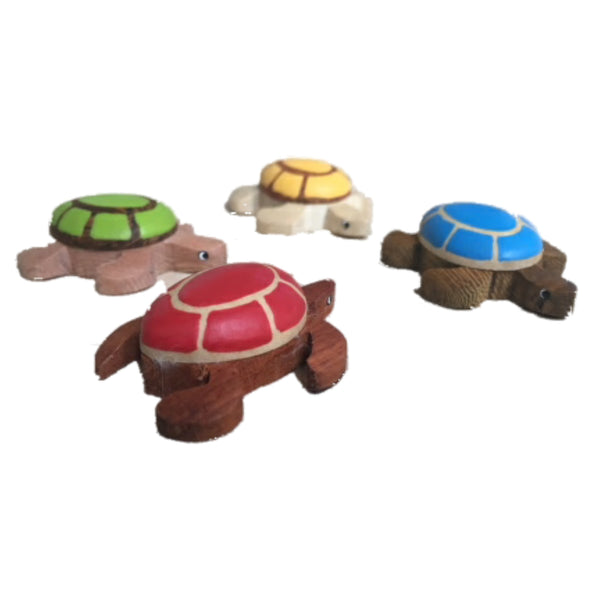 Sea Turtle Collection Medium Figurine Handcrafted in Wood - Vibrant Colors