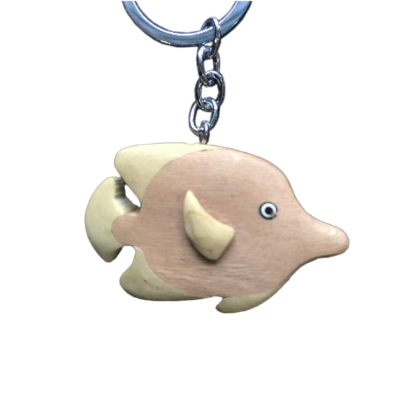 Blue Tang Fish Key Chain Handcrafted in Wood