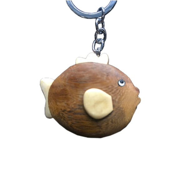 Balloon Fish Key Chain Handcrafted in Wood