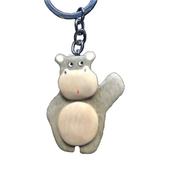 Hippo Key Chain Handcrafted in Wood