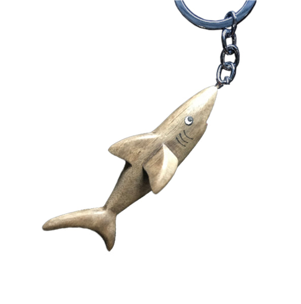 Shark Fish Key Chain Handcrafted in Wood