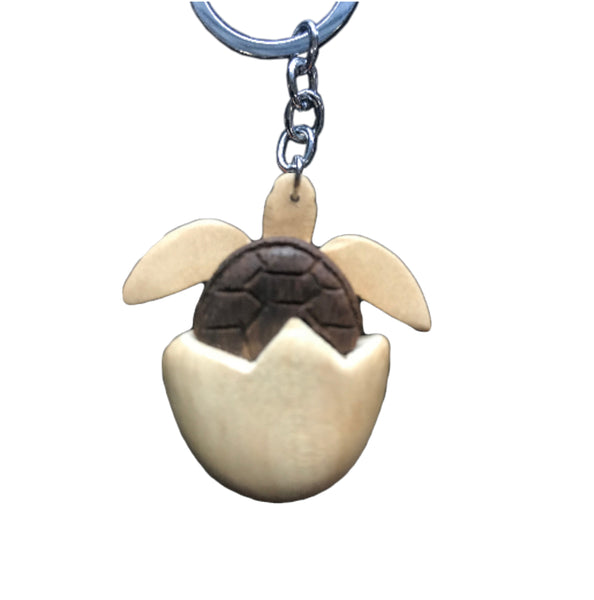 Hatching Turtle Key Chain Handcrafted in Wood | Handcrafted Gift