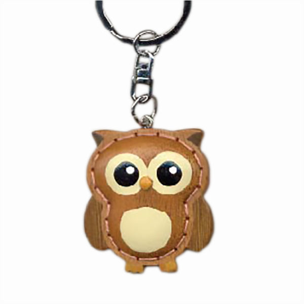 Owl Key Chain Handcrafted in Wood - Patchwork