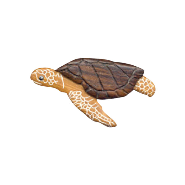 Turtle Side Magnet Handcrafted in Wood