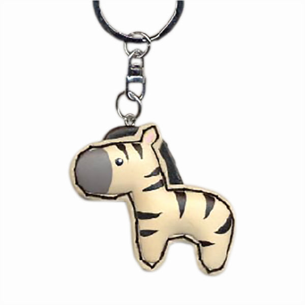 Zebra Key Chain Handcrafted in Wood - Patchwork