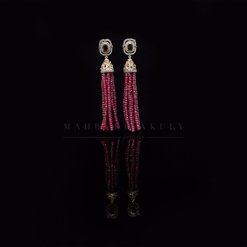 Ruby Victorian Tassel Earrings