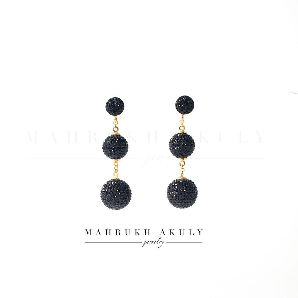 Black Swarovski ball earrings