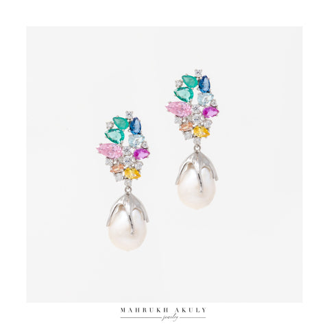 Multicolor zirconia drop earrings