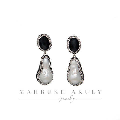 Onyx and Baroque pearl drops