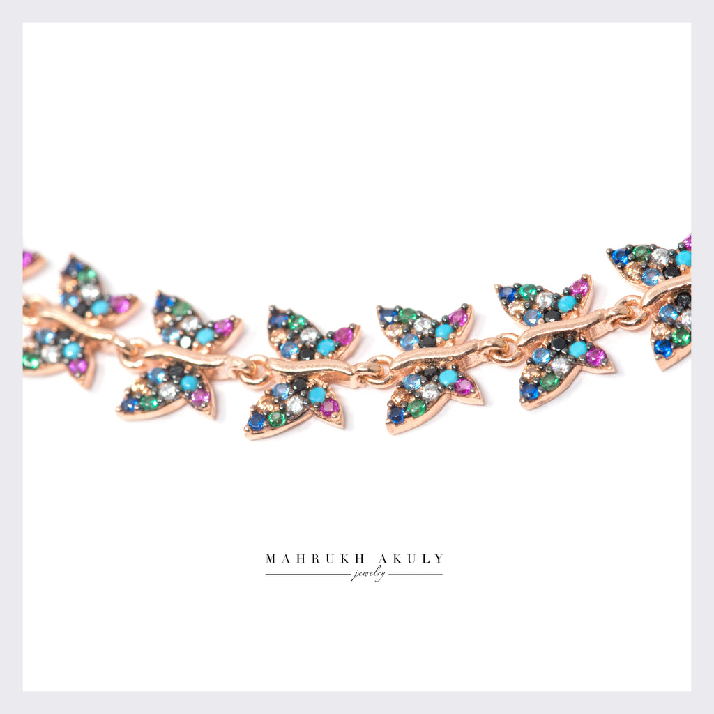 Butterfly pave anklet