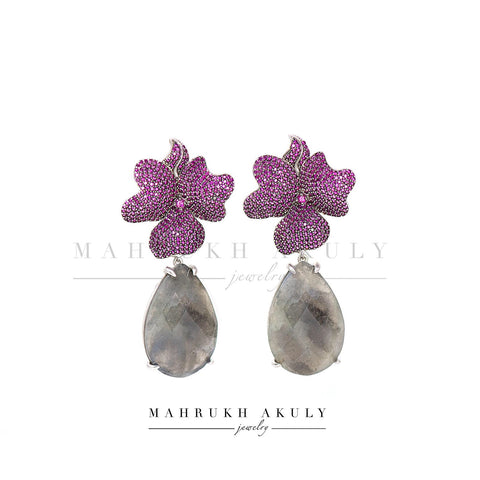 Fuschia zirconia pave and larbrodite florals