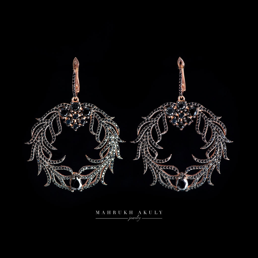 Black zirconium wreath earrings