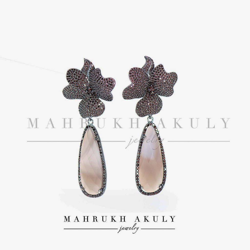 Black zirconia and smokey topaz florals