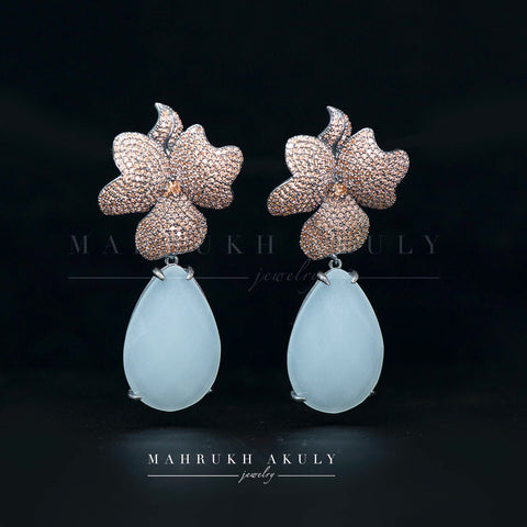 Zirconia pave floral drop earrings