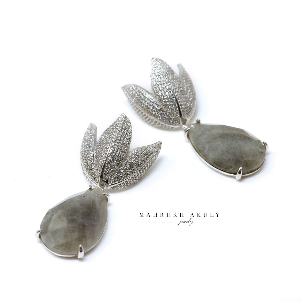 Labradorite tulip pave earrings
