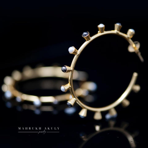 Gold and pearl hoops