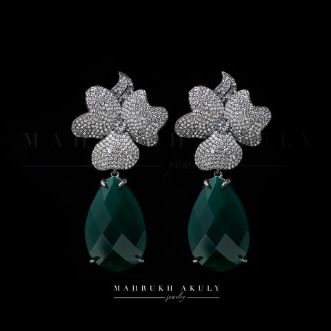Floral zirconia and emerald zirconia drop earrings