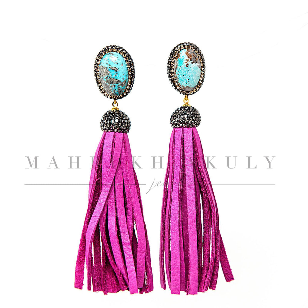 Turquoise and hot pink leather fringe