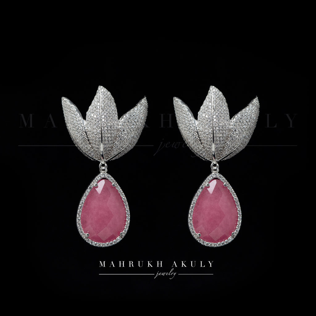 Tulip pave earrings