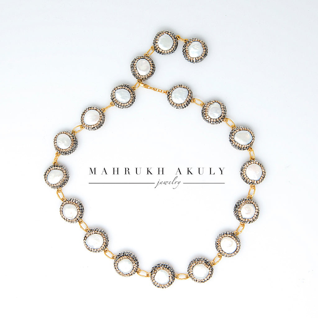 Baroque Pearl and Swarovski collar/choker.