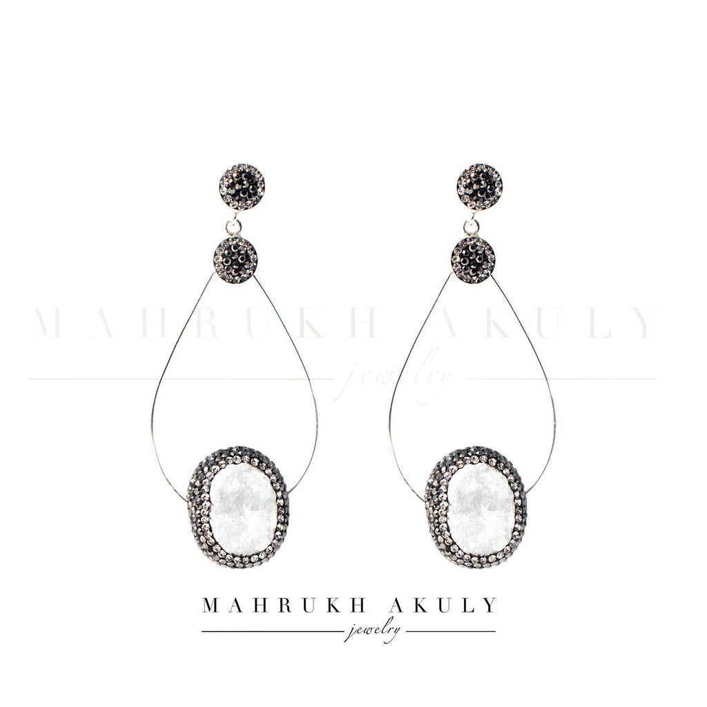 Silver and chalcedony hoops