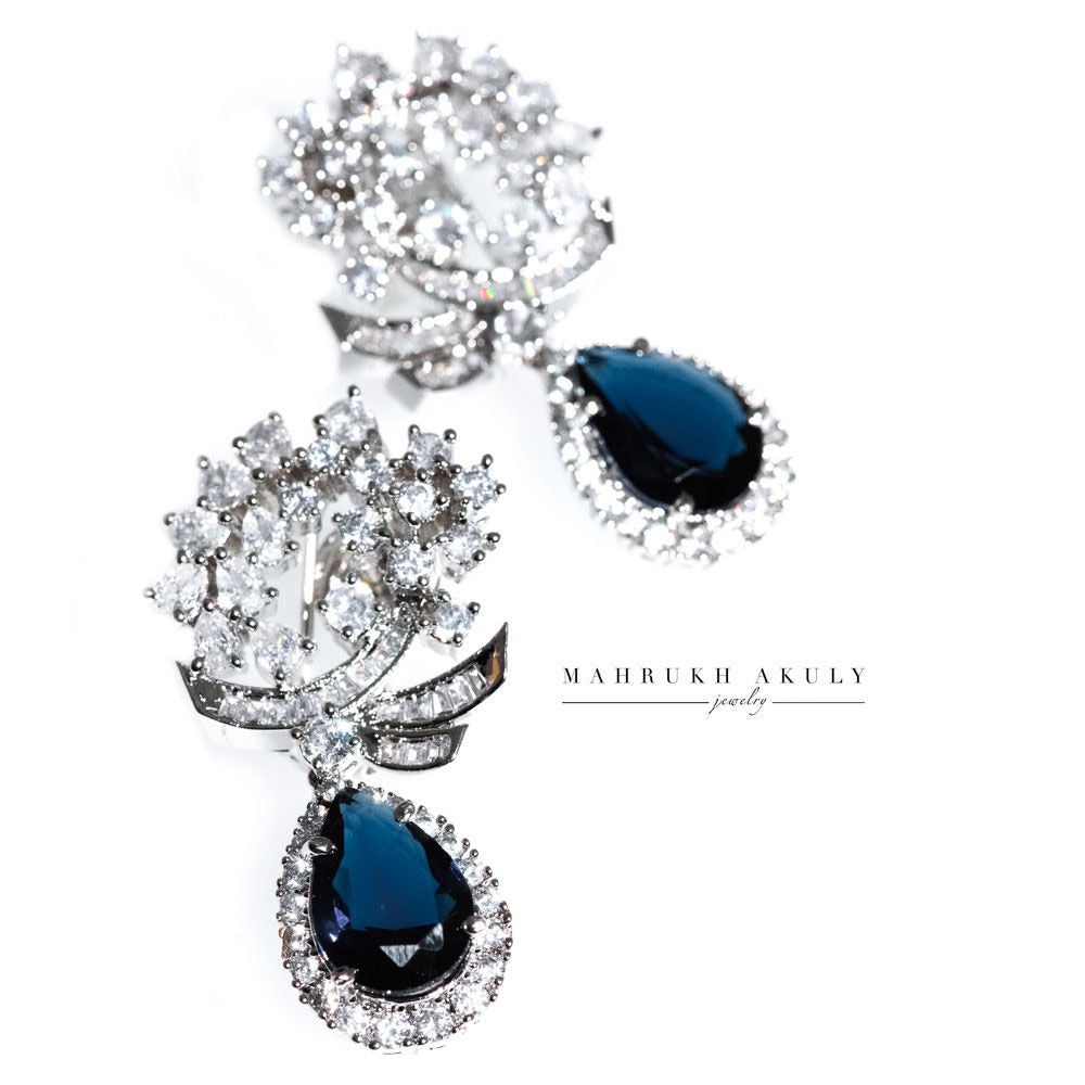 Sapphire zirconia drop earrings