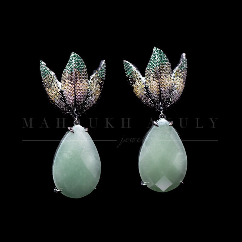 Ombré tulip pave earrings