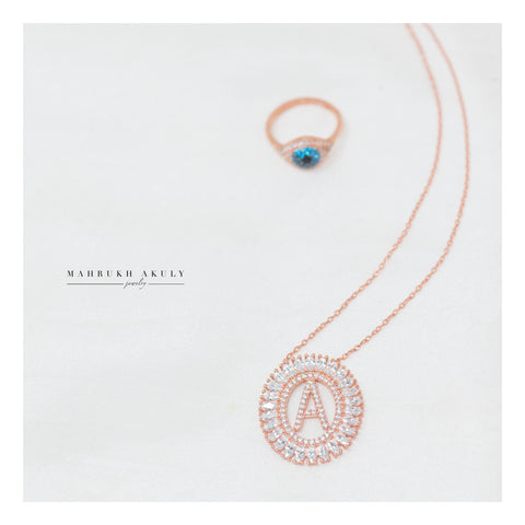 Initial necklace- Rose Gold