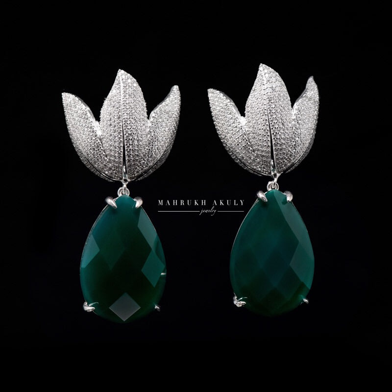 Green tulip pave earrings