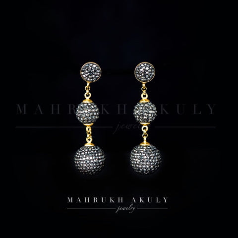 Grey Swarovski ball earrings
