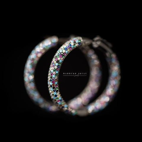 Multicolor pave hoops