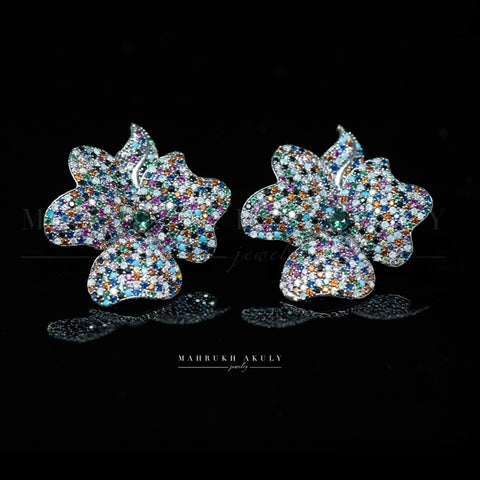 Multicolor pave zirconia floral studs