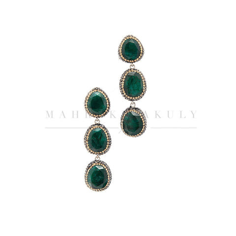 Triple drop emerald earrings