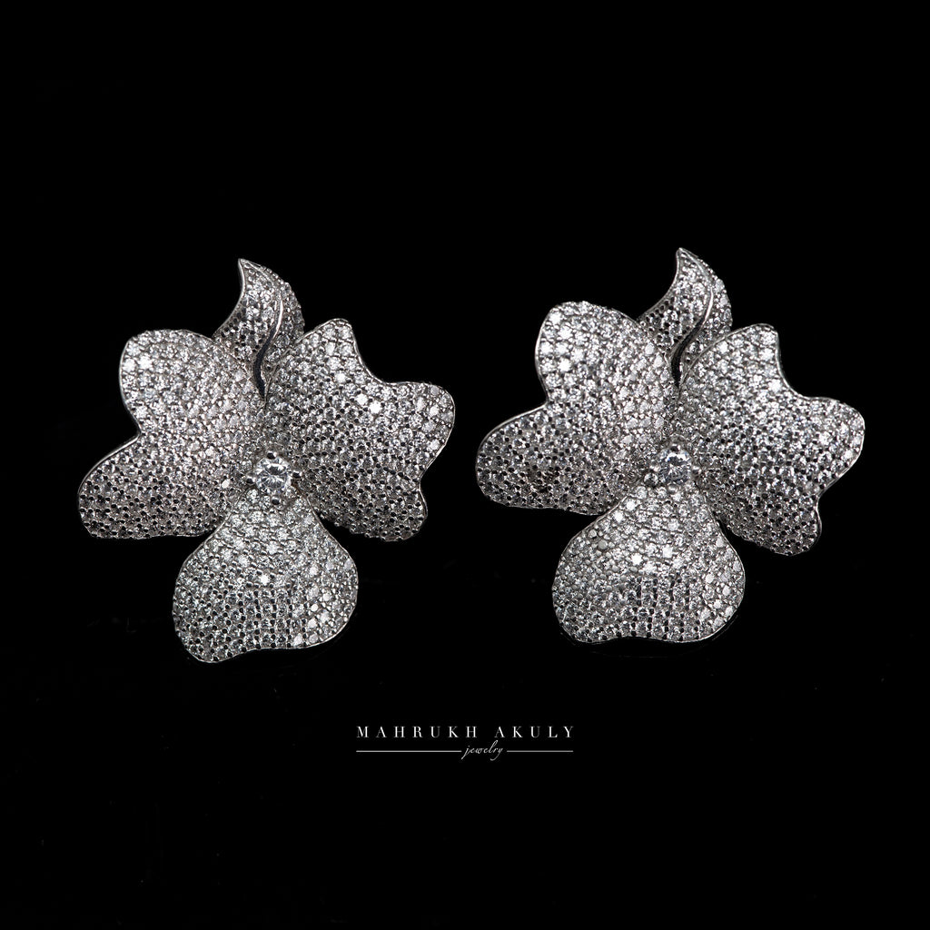 Silver pave zirconia floral studs
