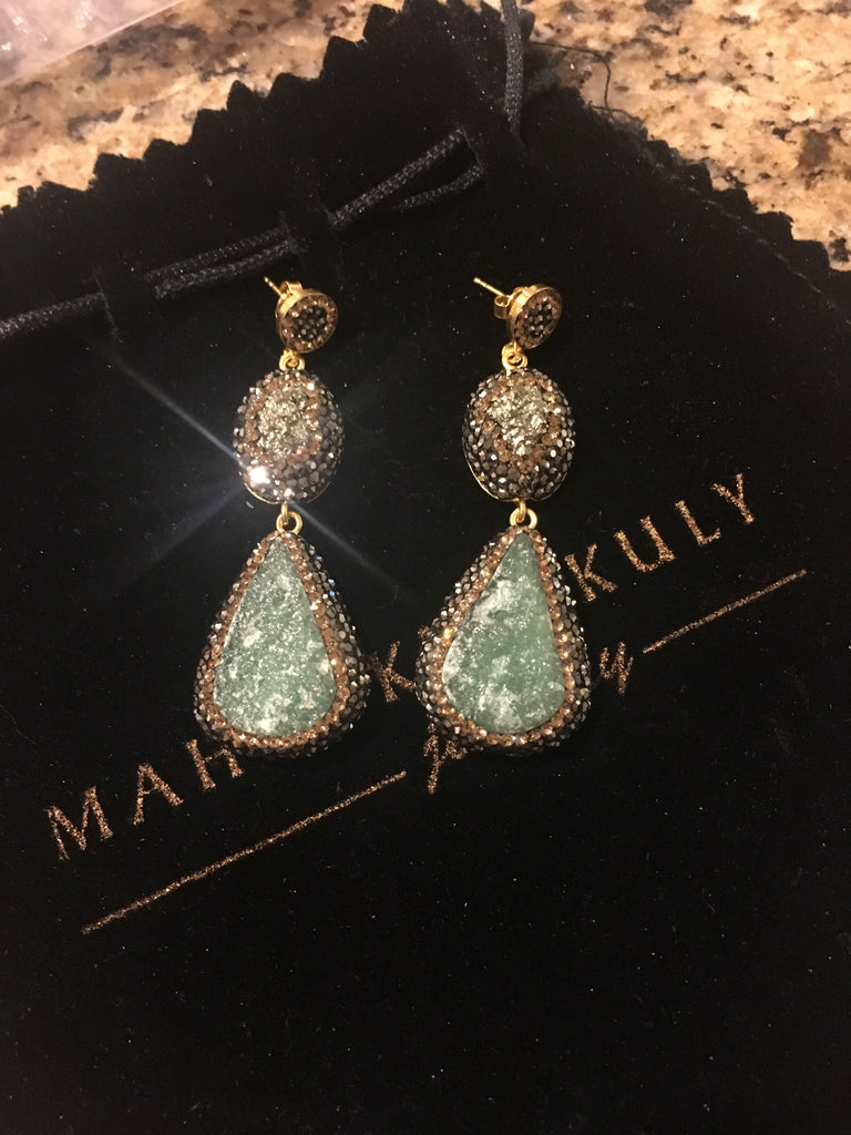 Pyrite and amazonite earrings