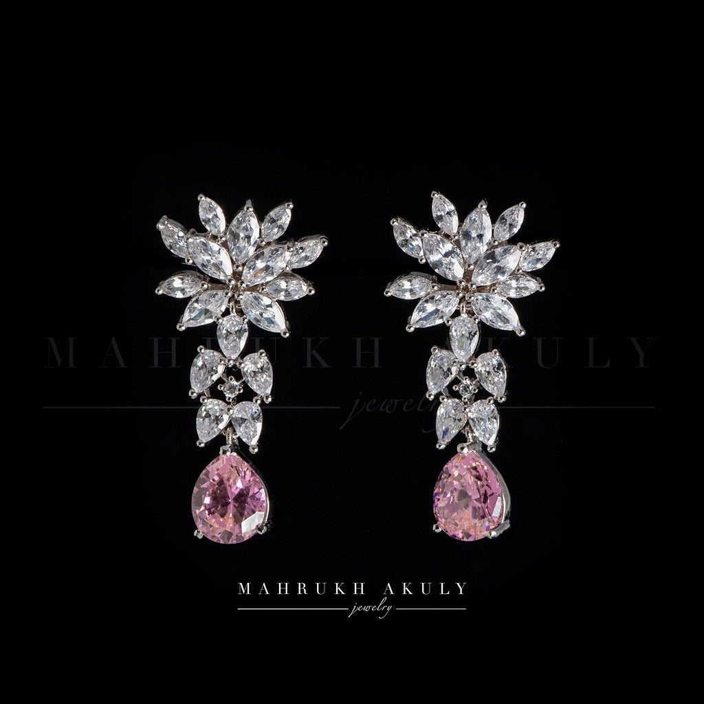 Pink zirconia knot earrings